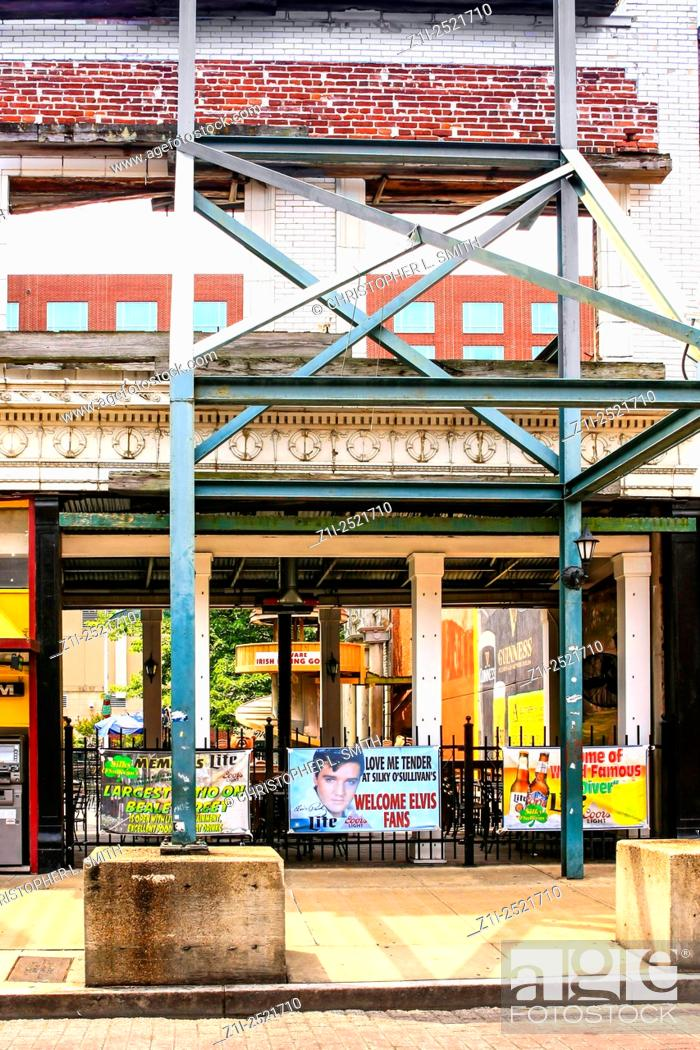 Building frontages held up with scaffolding on Beale Street