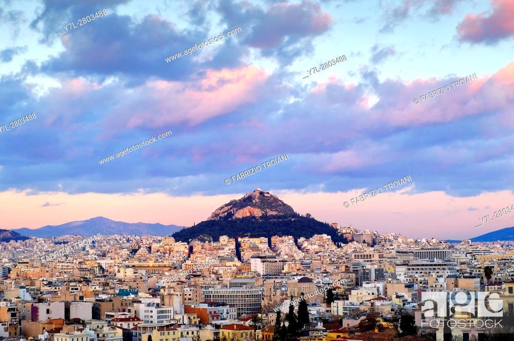 Stock Photo: View of Mount Lycabettus, Athens, Greece.