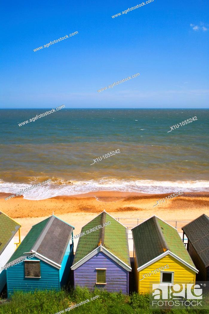 Stock Photo: Beach Huts Southwold Suffolk England.