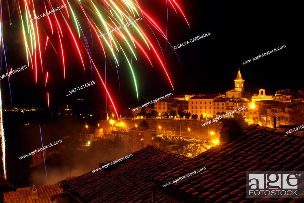 Stock Photo: Fireworks over Paliano, Italy.