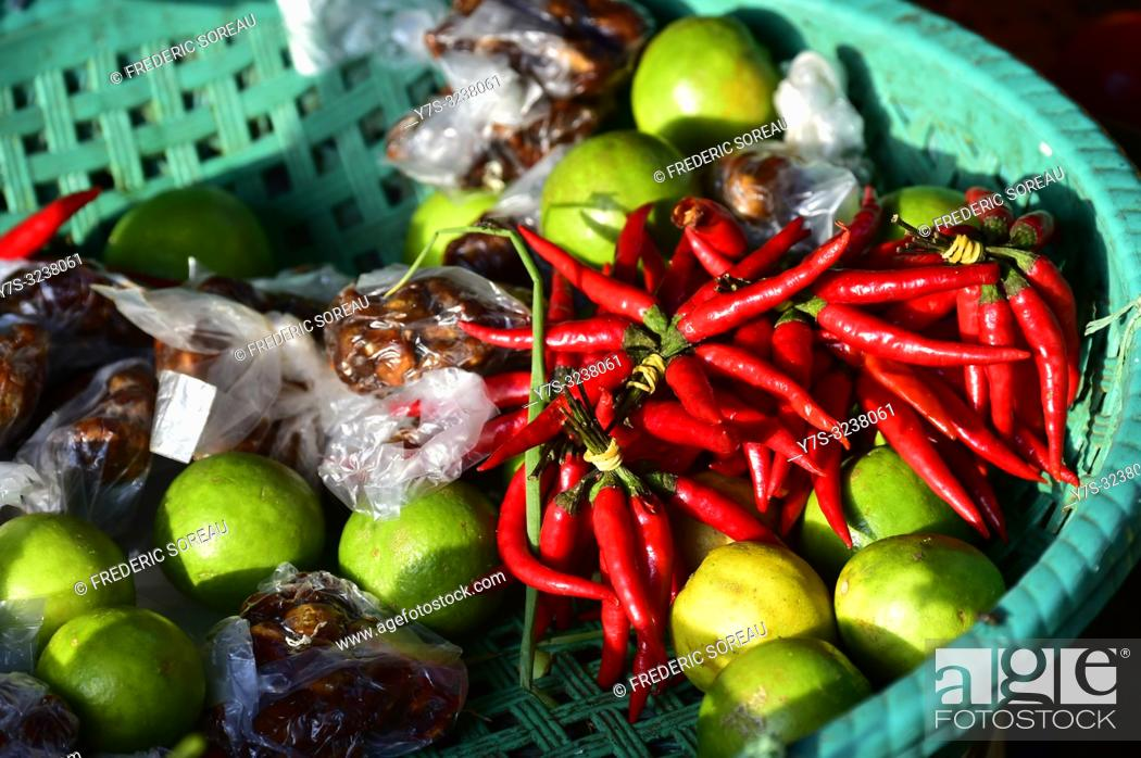 Stock Photo: Red hot chili peppers, market,Phnom Penh,Cambodia,South east Asia.