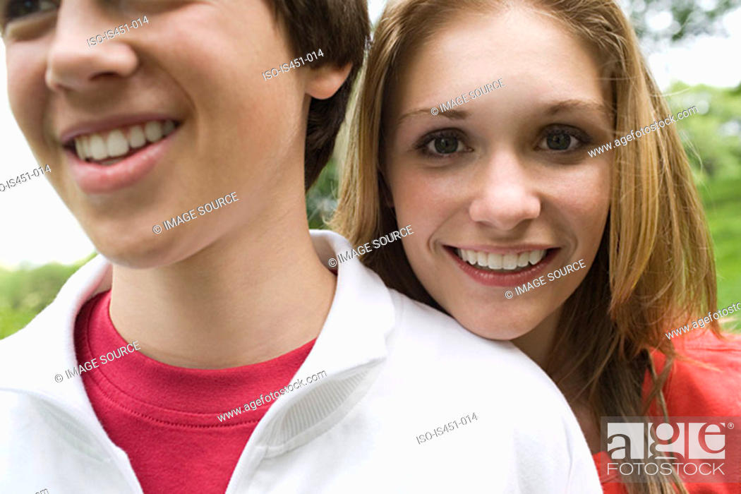 Stock Photo: Two smiling teenagers.
