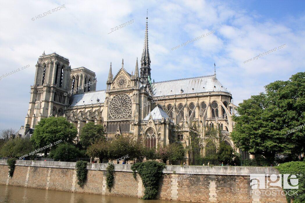 Stock Photo: Wide angle view of Notre Dame de paris, France.