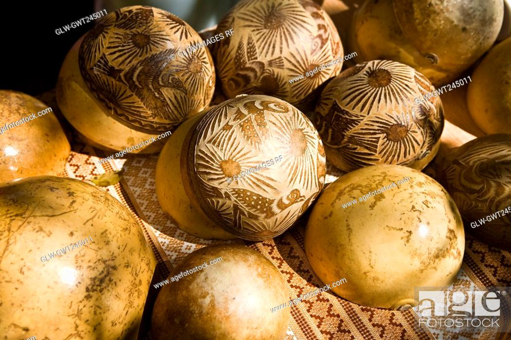 Stock Photo: Close-up of decorated ostrich eggshells, Los Arquitos De Xochimilco, Oaxaca, Oaxaca State, Mexico.