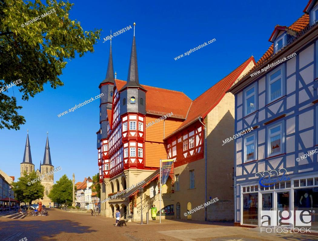 Stock Photo: Town hall and St. Cyriakus church in Duderstadt, Lower Saxony, Germany,.