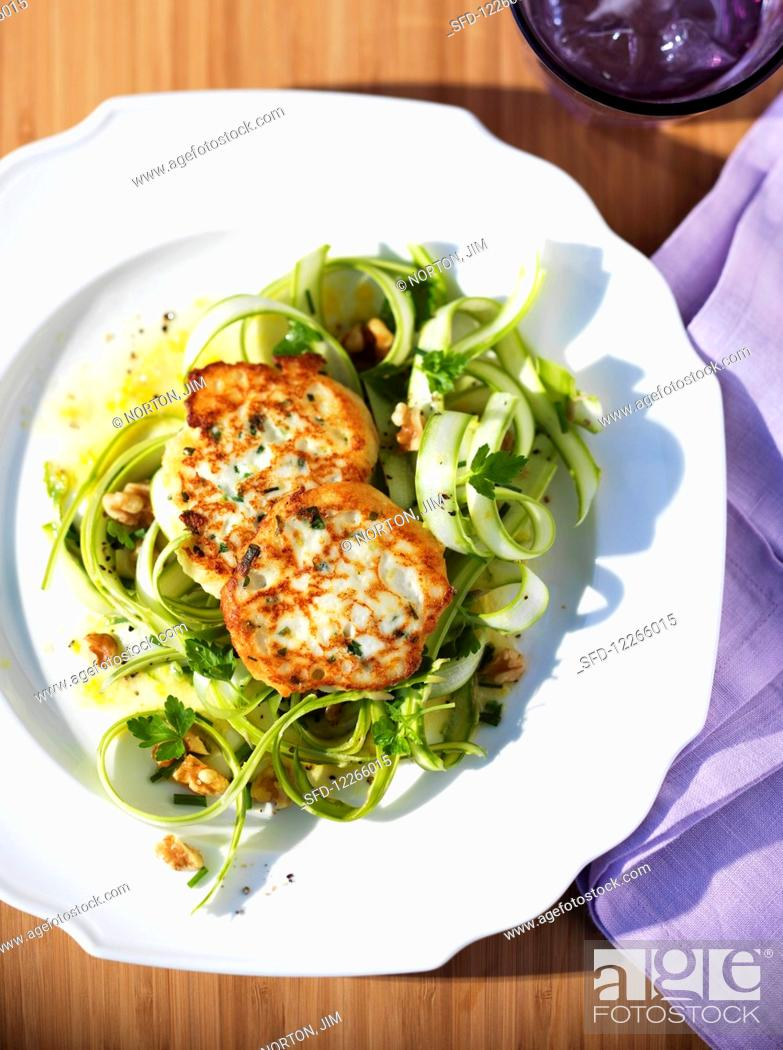 Stock Photo: Shaved green asparagus salad with fritters.