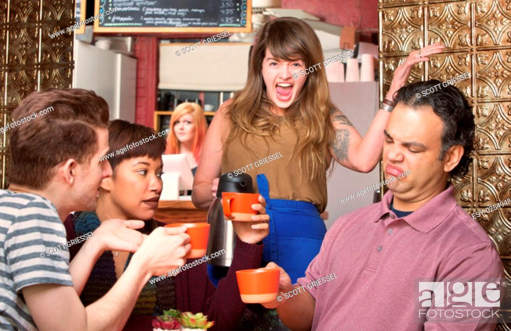 Stock Photo: Screaming waitress with picky customers in coffee house.