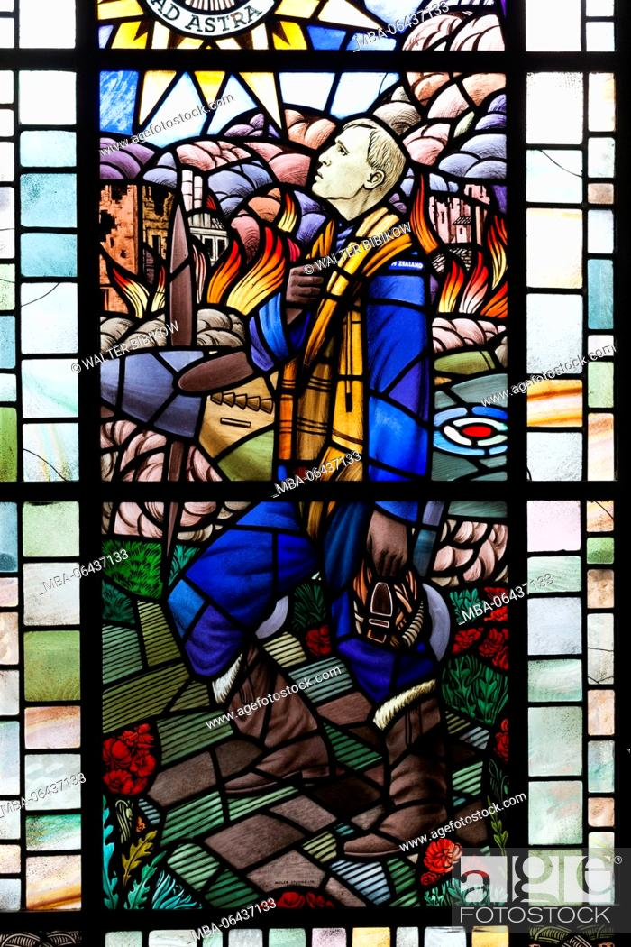 Stock Photo: New Zealand, North Island, Auckland, Auckland War Memorial Museum, WW2-era display, stained glass of airman.