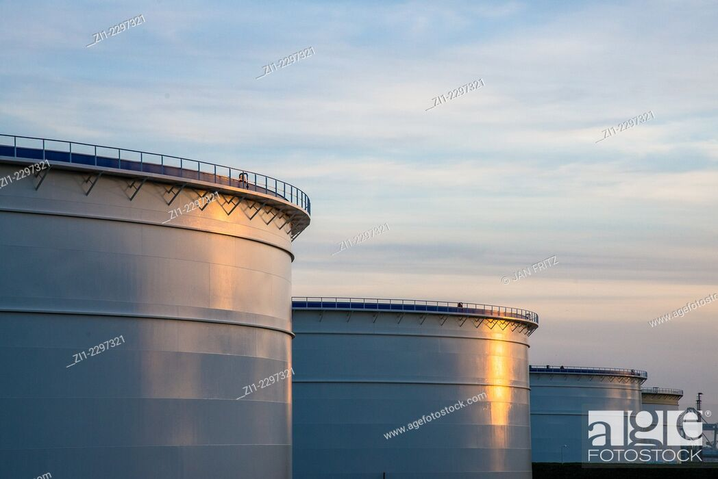 Stock Photo: reservoirs for oil at rotterdam harbour.