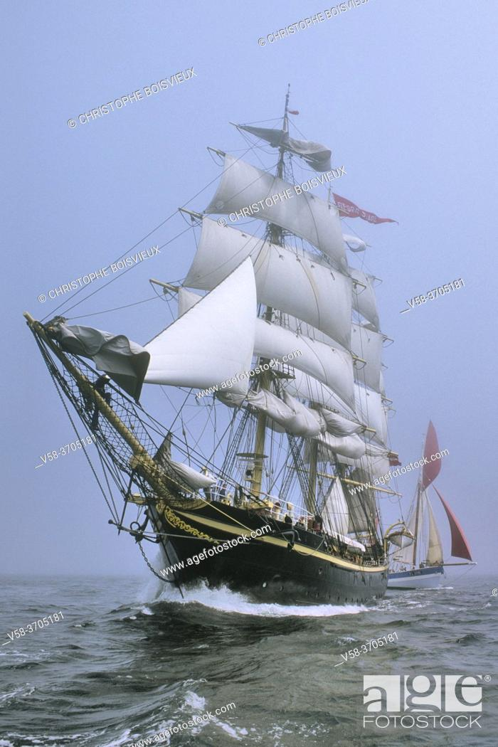 """Stock Photo: France, Brittany, Finistere, Brest roadstead, Danish ship Georg Stage and tunny boat """"""""Vieux Copain""""""""."""