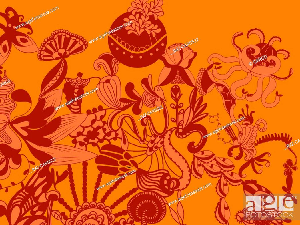 Photo de stock: A whimsical orange and red floral decorative background.