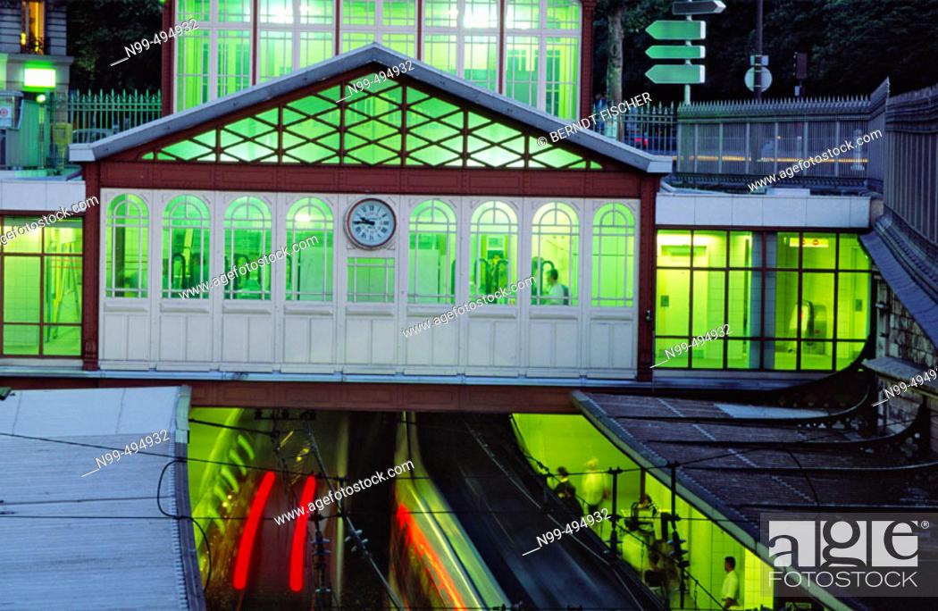 Stock Photo: Underground station Denfert-Rochereau, Paris. France.