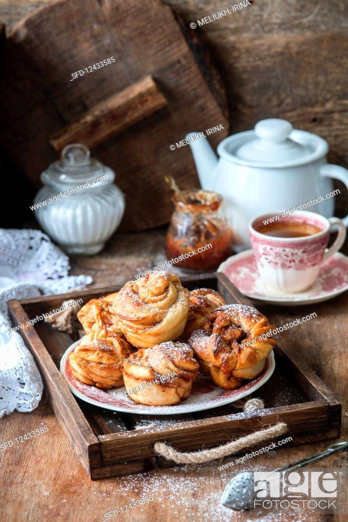 Stock Photo: Swirl buns with jam.