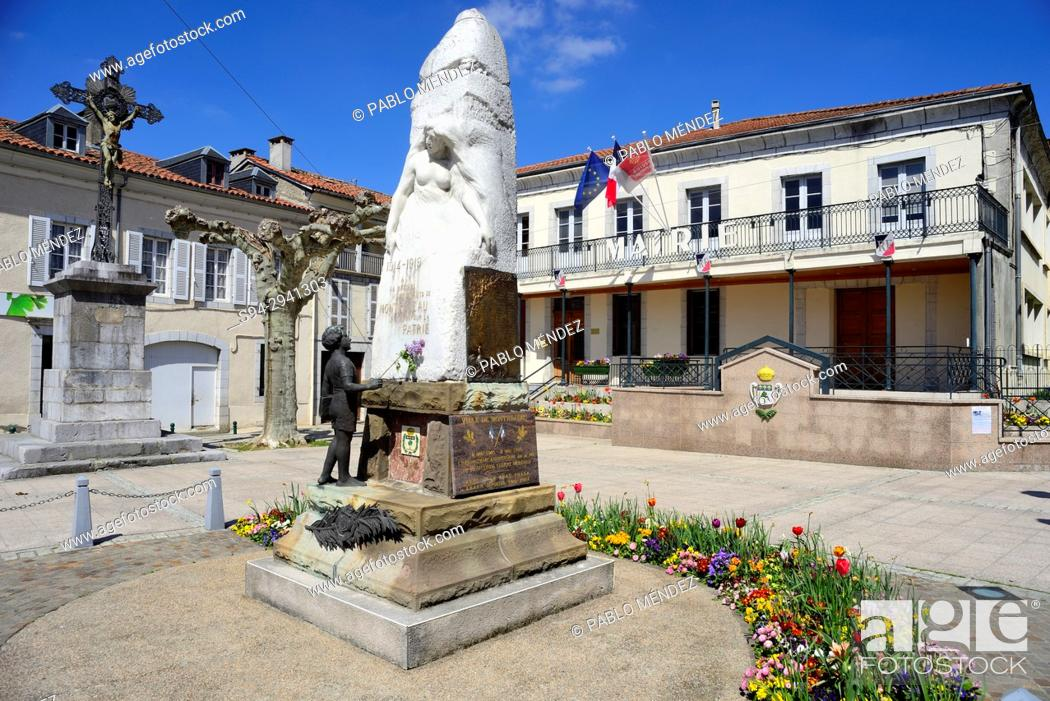 """Stock Photo: Square of the Town Hall """"""""Mairie"""""""" of Montrejeau, Midi-Pyrenees, France."""