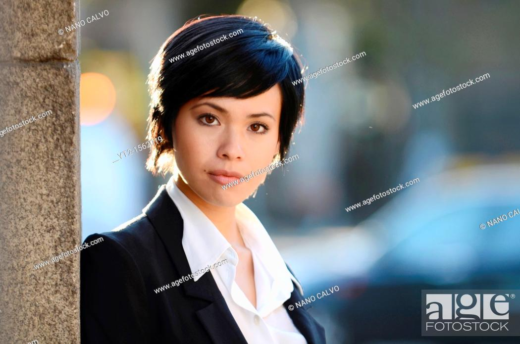 Stock Photo: Young eurasian businesswoman.