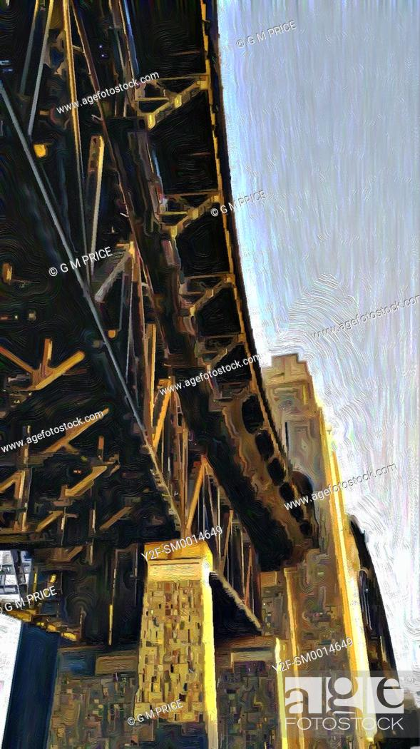 Stock Photo: painting filter view of part of Sydney Harbour Bridge.