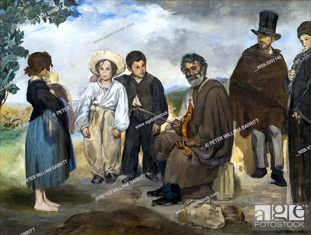 Stock Photo: The Old Musician, Edouard Manet, 1862, National Gallery of Art, Washington DC, USA, North America.