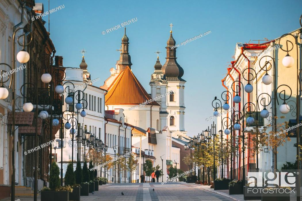 Stock Photo: Pinsk, Brest Region, Belarus. Cathedral Of Name Of The Blessed Virgin Mary And Monastery Of The Greyfriars. Famous Historic Landmarks.