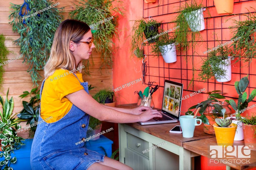 Stock Photo: Woman using laptop on her terrace.