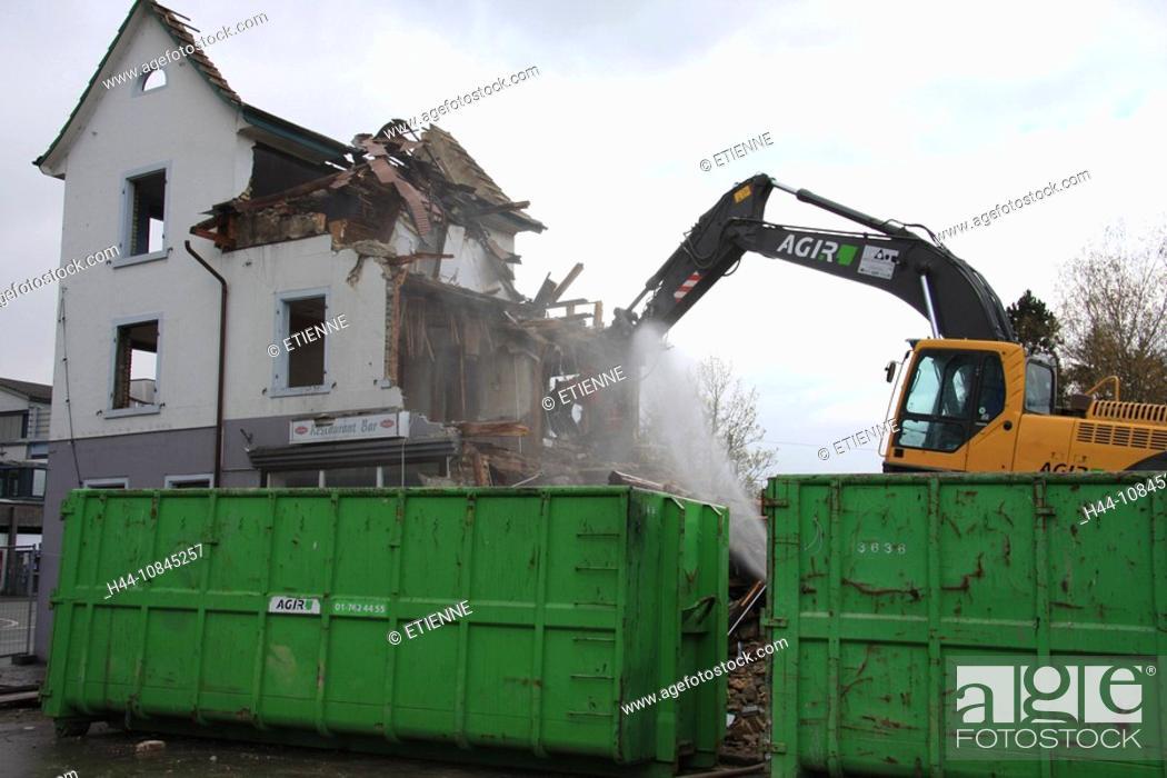 Stock Photo: Switzerland, Europe, Schlieren, Deconstruction, building, town, Schlieren, demolition, construction site, Excavator, m.