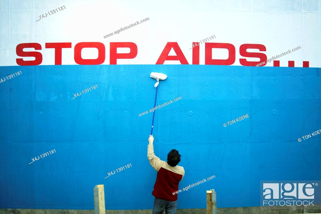 Stock Photo: aids poster in Holland.