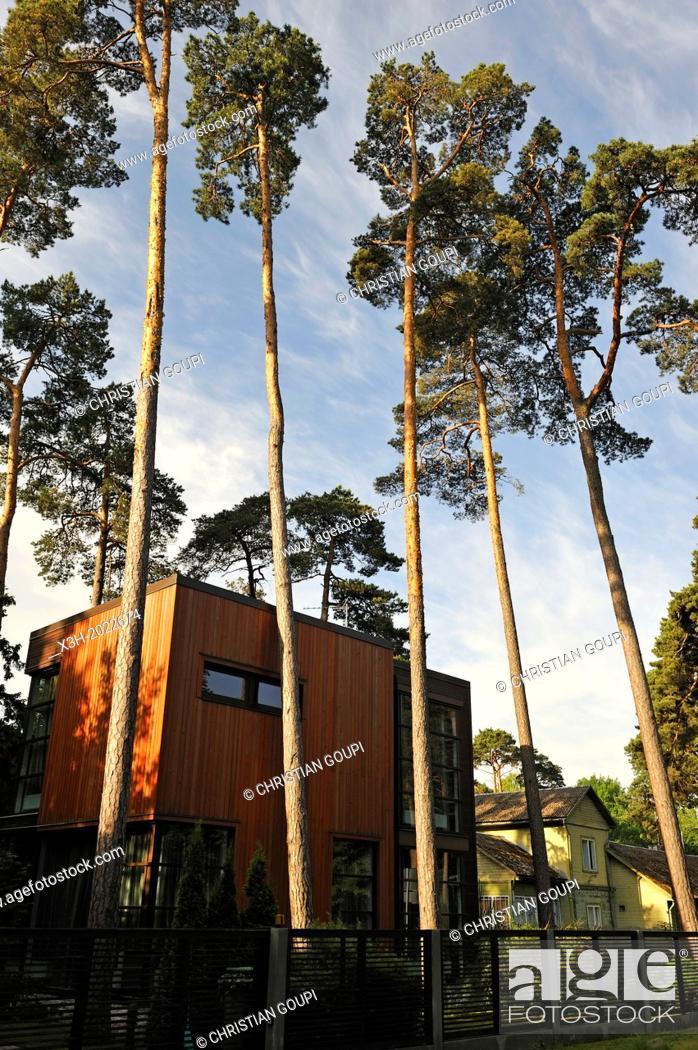 Stock Photo: wooden house with contemporary architecture, Majori, Jurmala, Gulf of Riga, Latvia, Baltic region, Northern Europe.