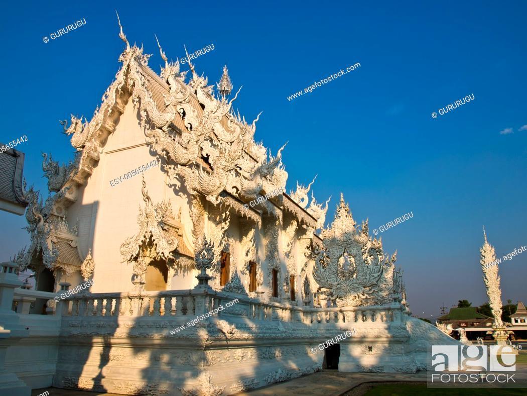 Stock Photo: Buddhist Monastery, Wat Rong Khun at Chiang Rai, Thailand.