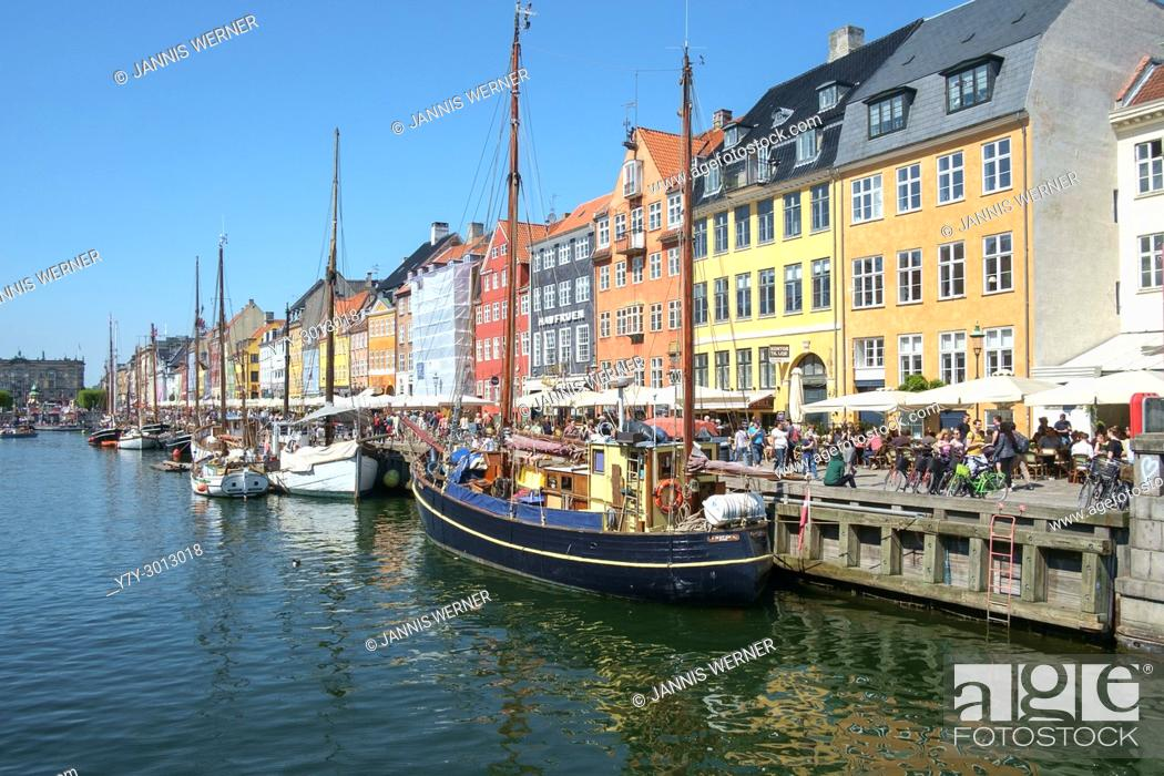 Stock Photo: Impressions from the historic harbor district of Nyhavn in Copenhagen, Denmark.