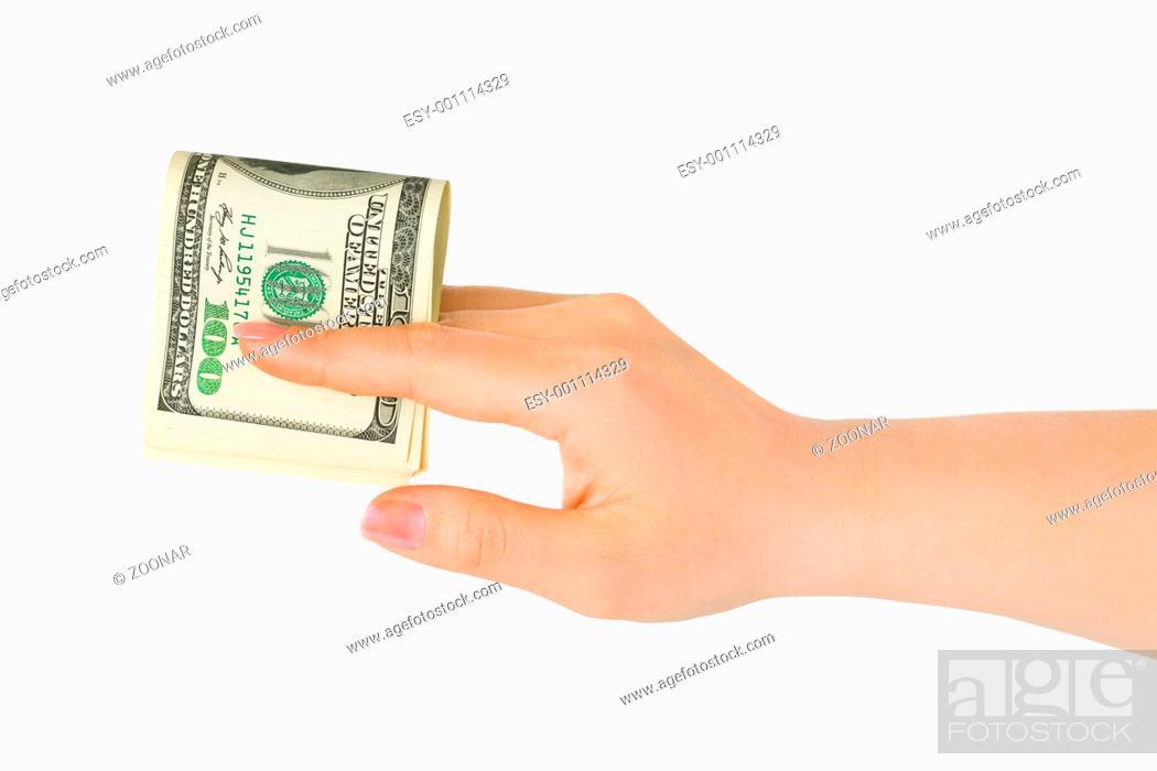 Stock Photo: Hand giving money.