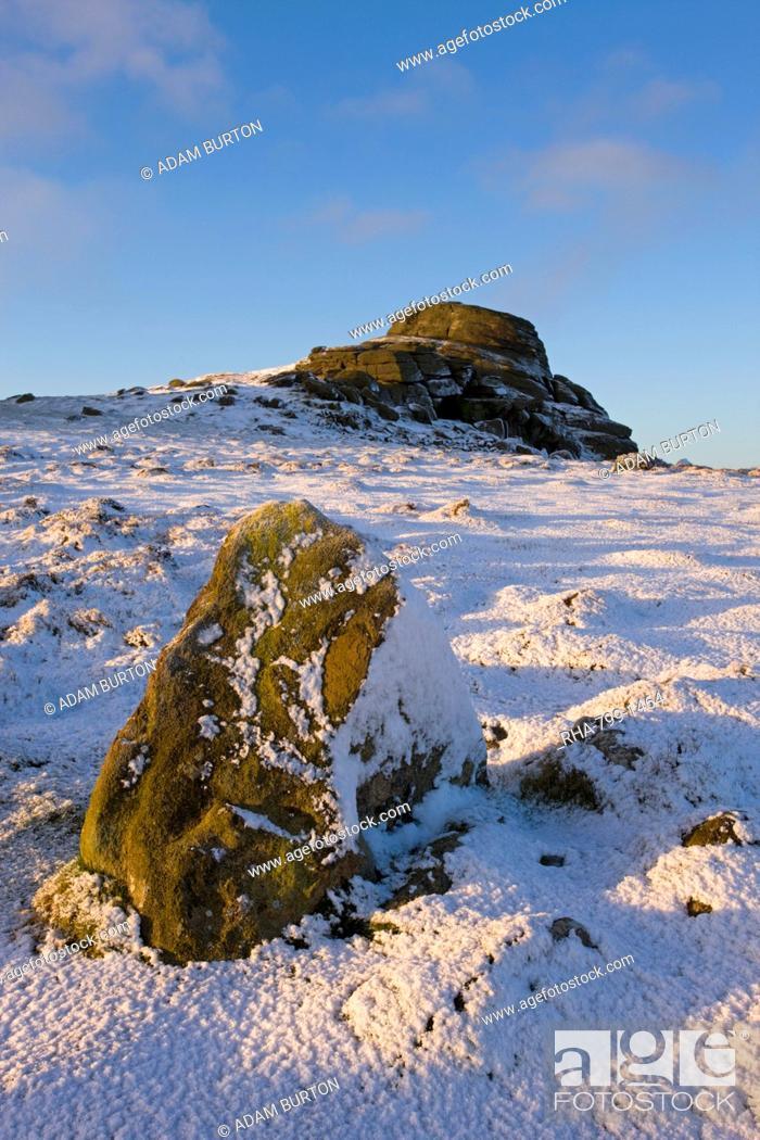 Stock Photo: Haytor Rocks on a snowy winter morning, Dartmoor National Park, Devon, England, United Kingdom, Europe.