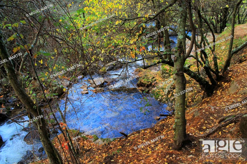 Stock Photo: A large turkish blue puddle in the Aguilón river, in the middle of the trekking route to El Purgatorio waterfalls during a cold Autumn evening.