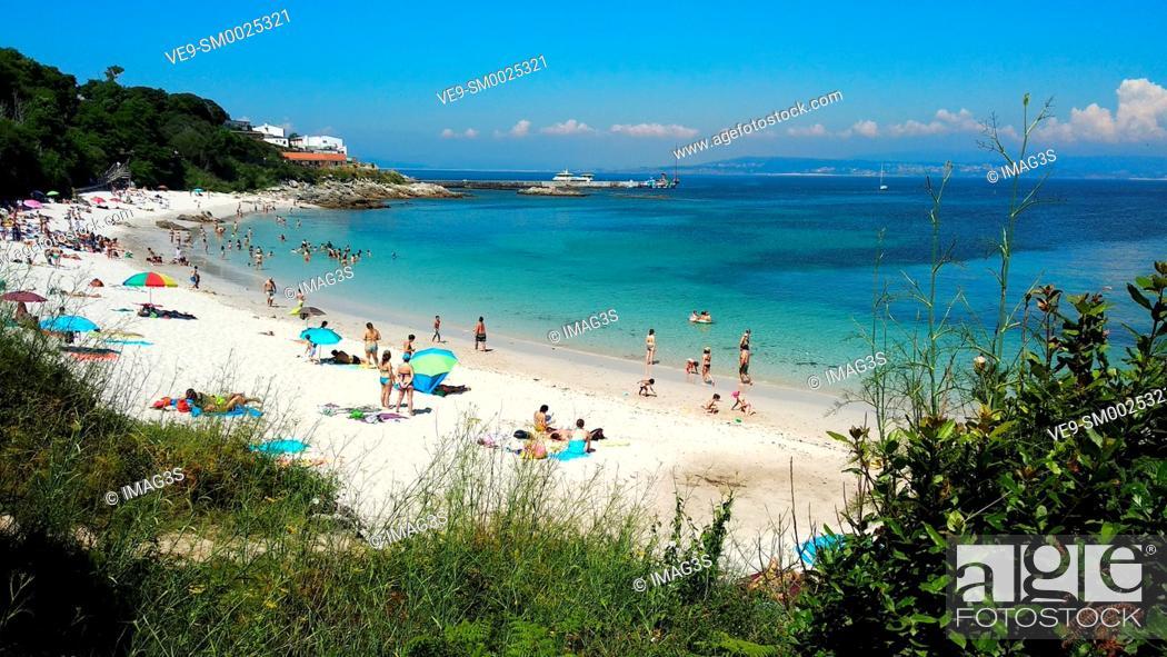 Stock Photo: 'Area dos cans' beach, Ons island, Islas Atlánticas National Park, Pontevedra province, Galicia, Spain.