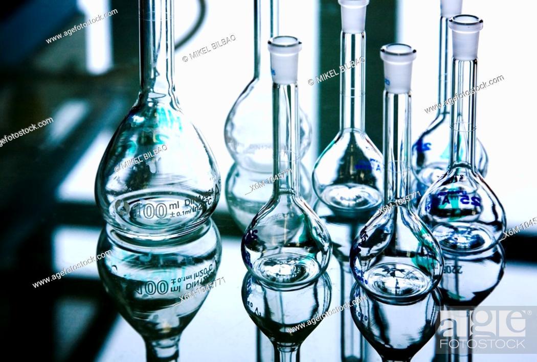 Stock Photo: flask in laboratory.
