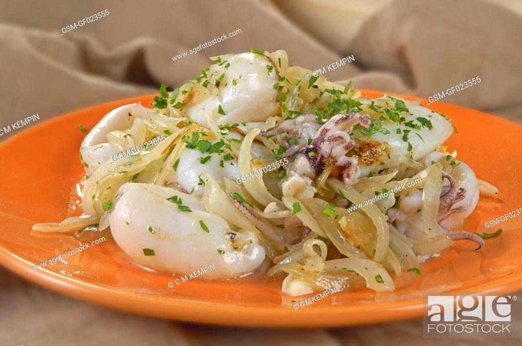 Stock Photo: Baby squid cooked with onions.