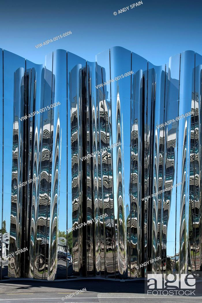 Stock Photo: Front elevation of exterior facade with abstract reflection. Len Lye Centre, New Plymouth, New Zealand. Architect: Patttersons Associates, 2015.