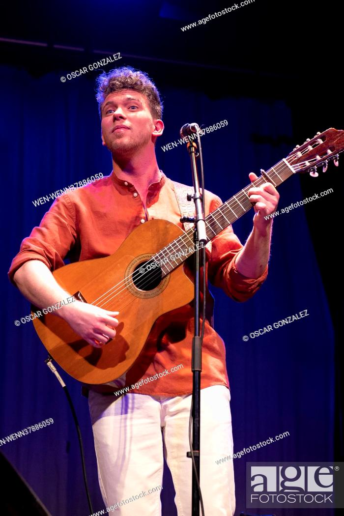 Stock Photo: Singer songwriter Jesus Rendon performing at the Muñoz Seca Theater in Madrid, Spain Featuring: Jesus Rendon Where: Madrid.
