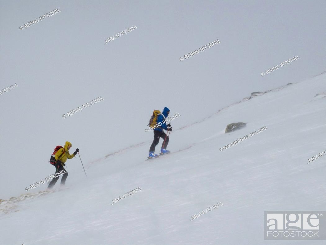 Stock Photo: Mountaineers, ski tour to Mittlerer Guslarspitze Peak, Ötztal Alps, Tyrol, Austria.