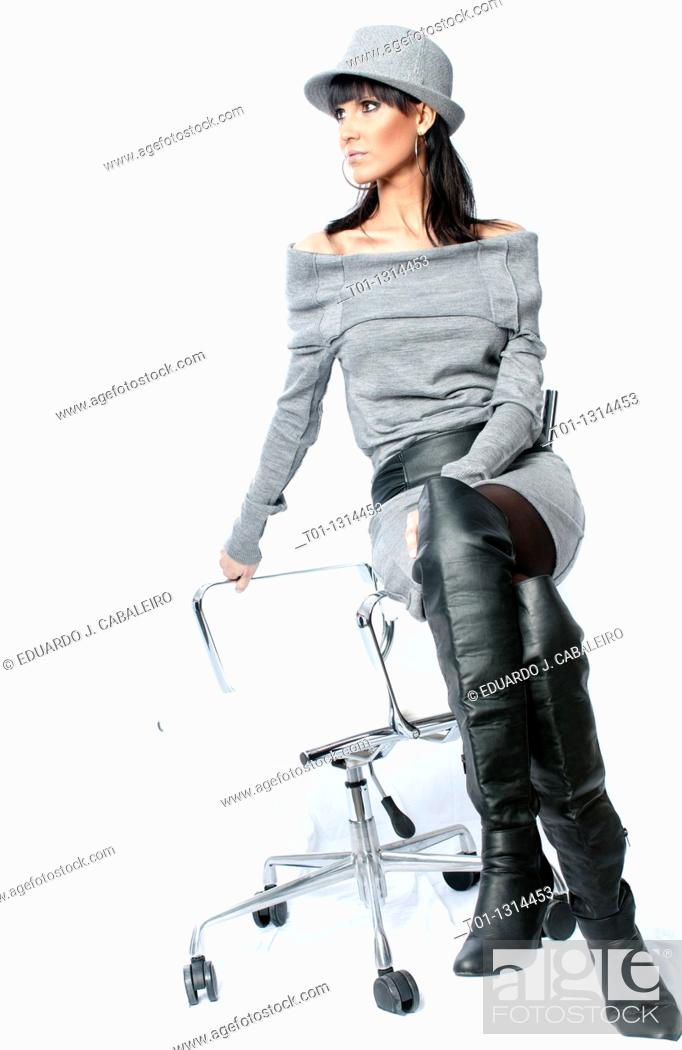 Stock Photo: Portrait of a young fashioned woman.