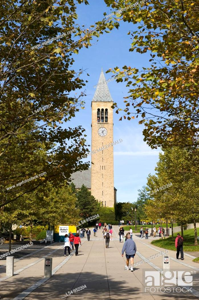 Stock Photo: McGraw Tower and Chimes Cornell University Campus Ithaca New York Finger Lakes Region.