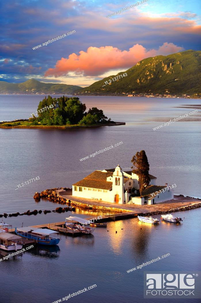 Stock Photo: Greek Orthodox Convent of Vlachernas, Kanoni, Peninsula, Corfu Greek Ionian Islands.