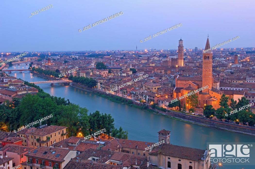 Stock Photo: Verona  Santa Anastasia church and Torre dei Lamberti at Dusk  Adige river  Veneto  Italy  Europe.