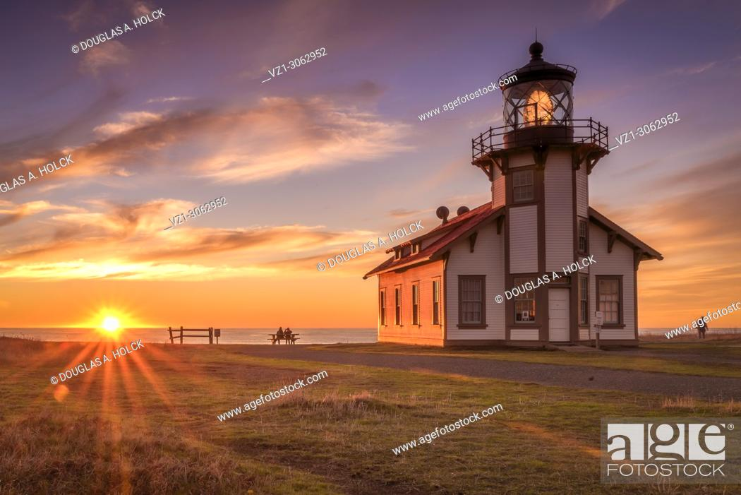 Stock Photo: Pacfic Ocean Point Cabrillo Sunset on Mendocino Coast Fort Bragg CA.