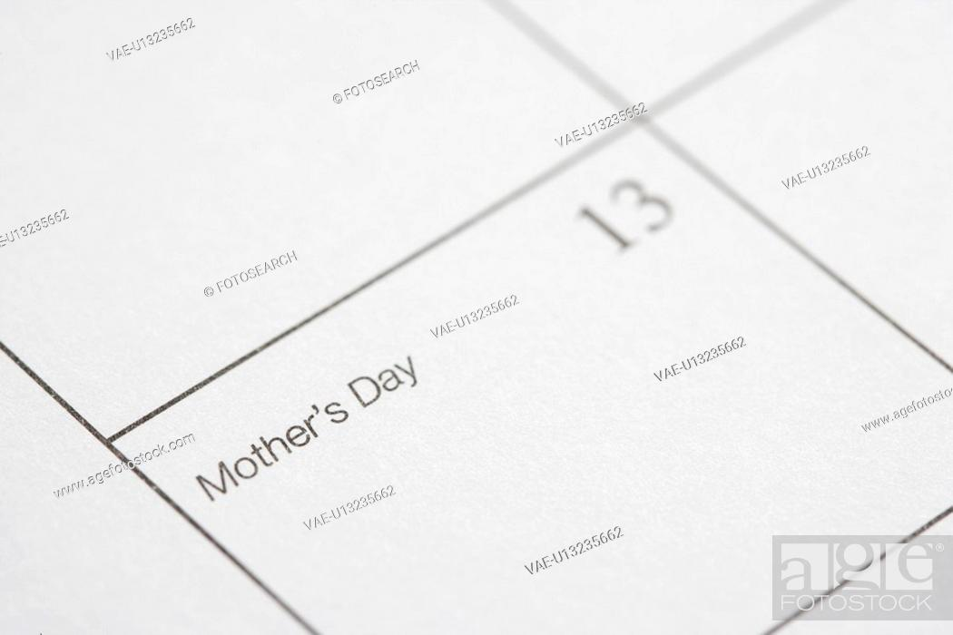 Stock Photo: Close up of calendar displaying Mothers Day.