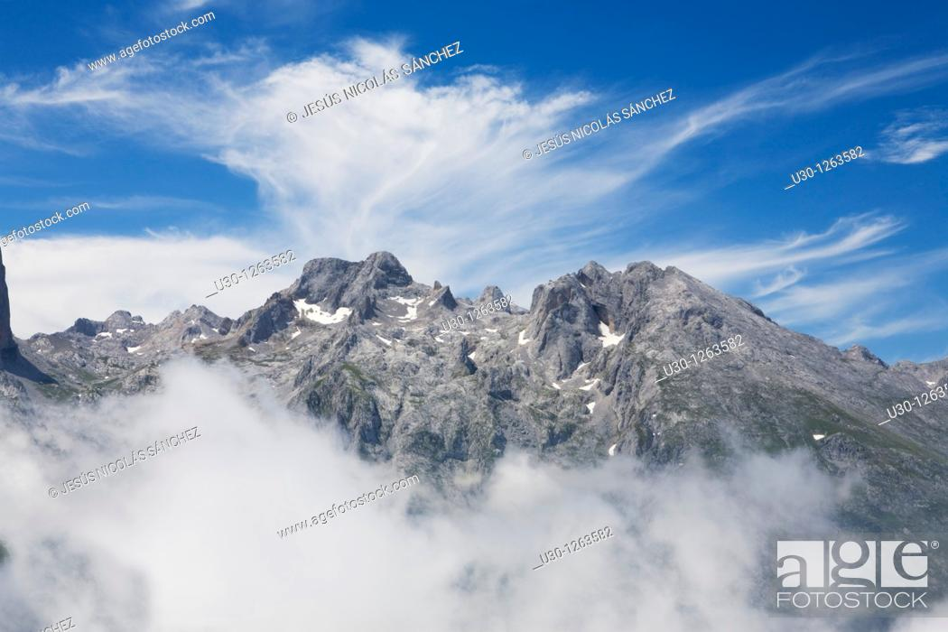Stock Photo: Mountain landscape seen from the top of Peña Maín, Urrieles Massif, in the Picos de Europa National Park, Asturias, Spain.