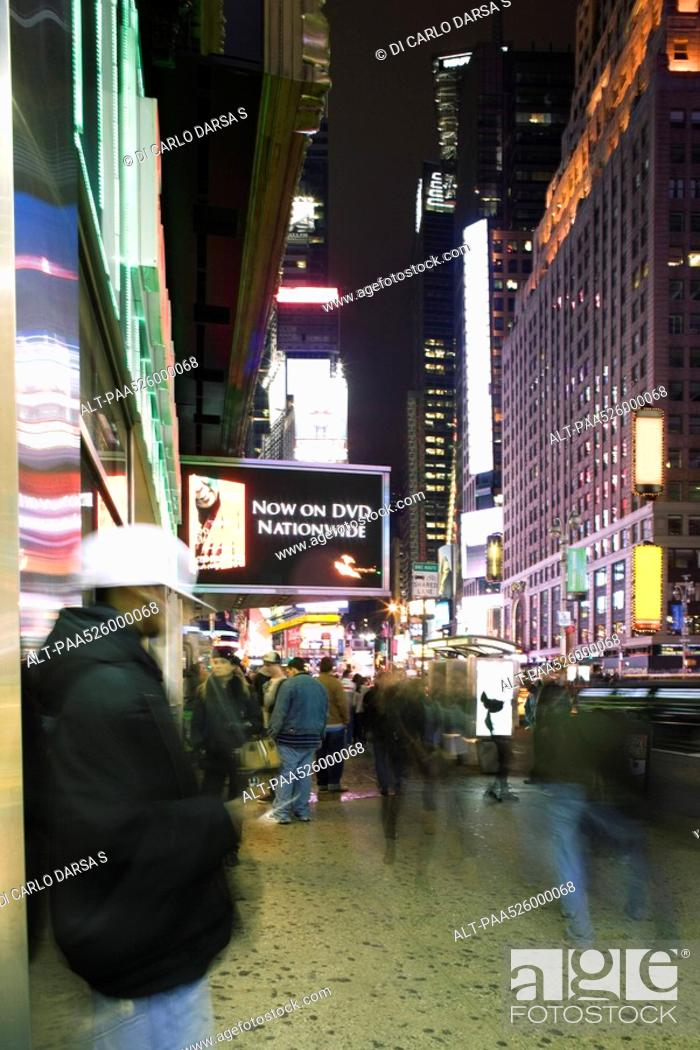 Stock Photo: Sidewalk scene on Broadway in New York City looking north at Times Square.