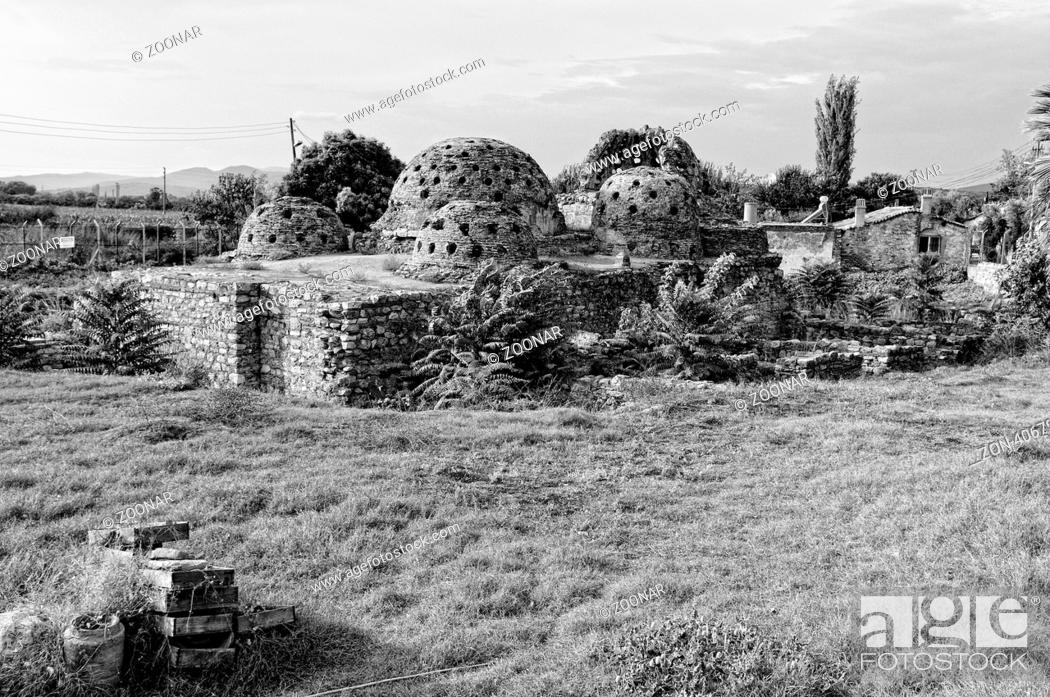 Stock Photo   Ruine Türkisches Bad Selcuk Türkei Schwarz Weiss, Turkish  Bath Ruins Selcuk Turkey Black And White