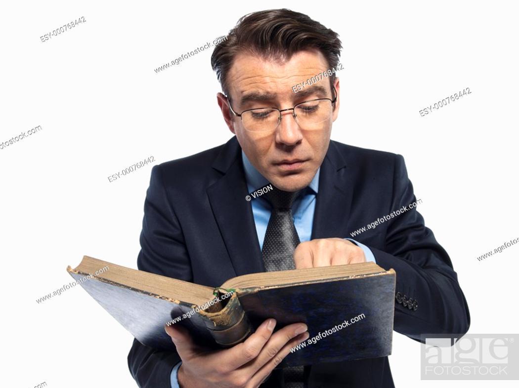 Stock Photo: man caucasian teacher historian reading old book isolated studio on white background.