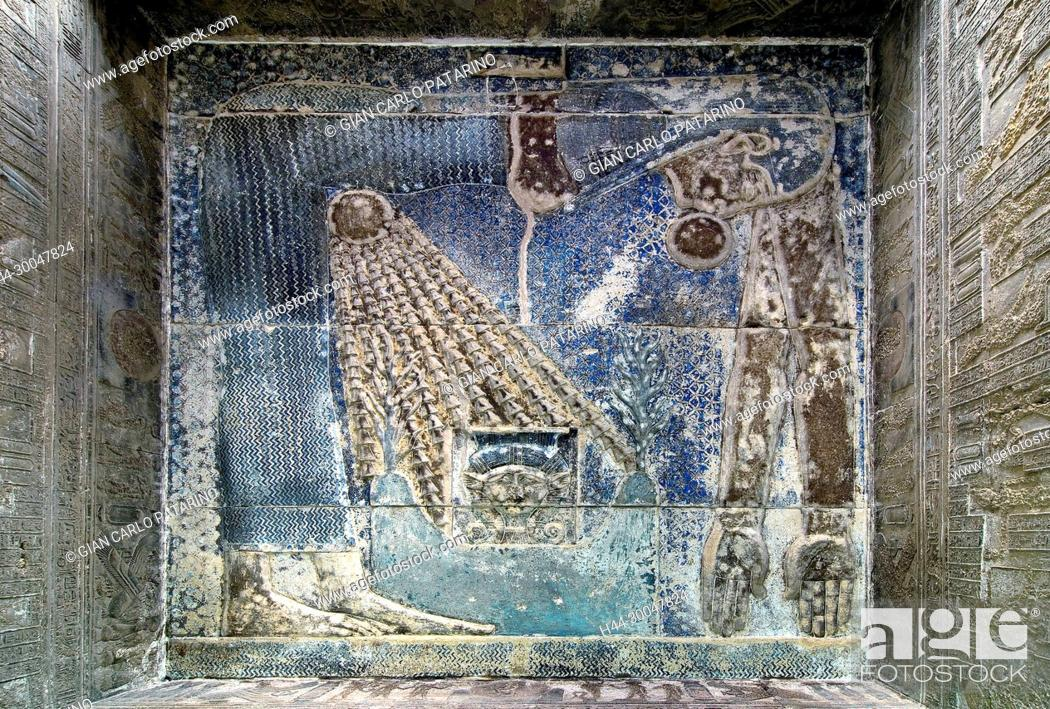Stock Photo: Dendera Egypt, temple dedicated to the goddess Hathor. View of the hypostyle hall. The goddess Nut in the ceiling before cleaning.