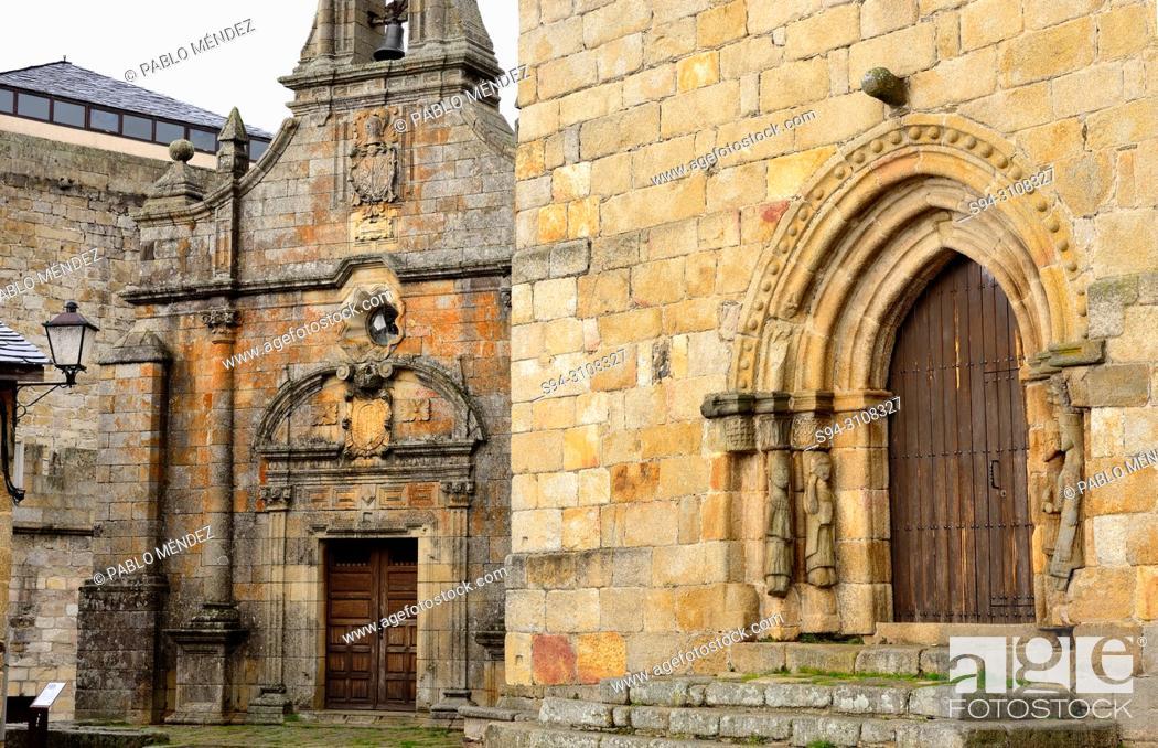 Stock Photo: Church of Santa Maria del Azogue and chapel of San Cayetano, Puebla de Sanabria, Zamora, Spain.