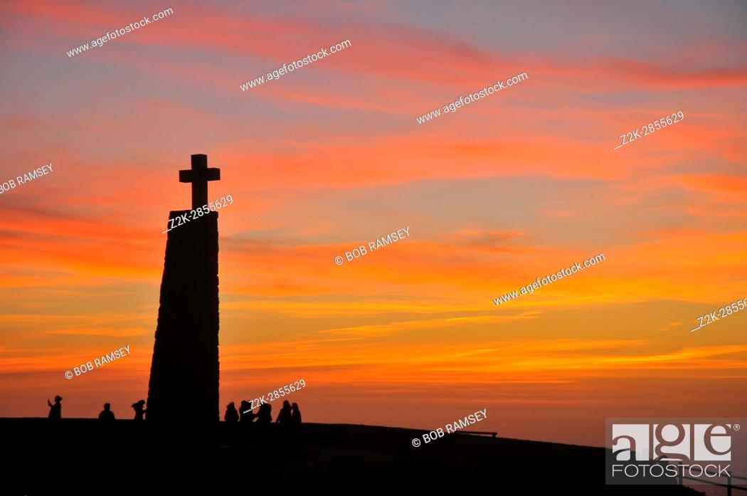 Stock Photo: Sky at Cabo da Roca point of view, period of sunset time.
